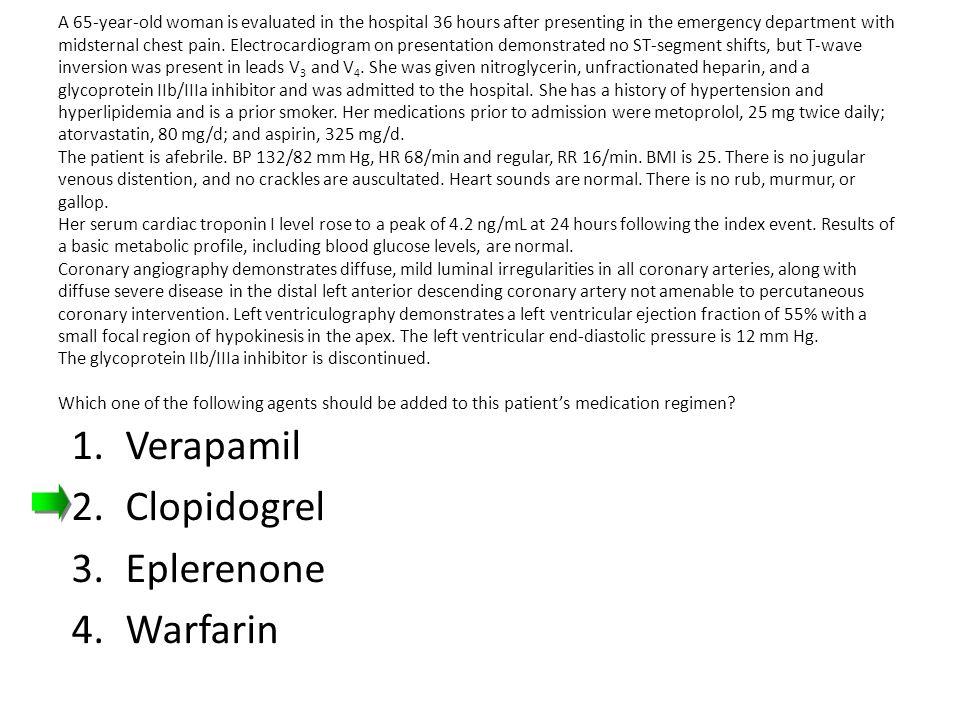 Verapamil Clopidogrel Eplerenone Warfarin