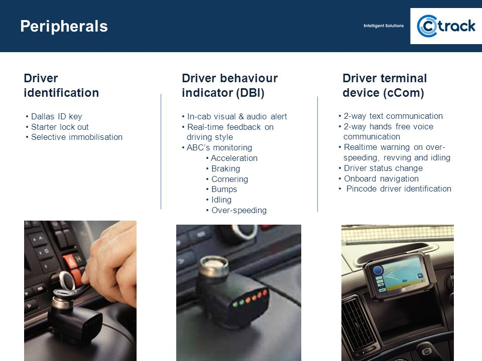 Peripherals Driver identification Driver behaviour indicator (DBI)