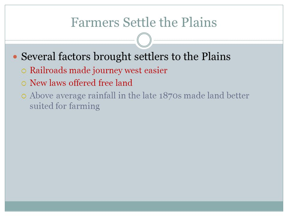 Farmers Settle the Plains