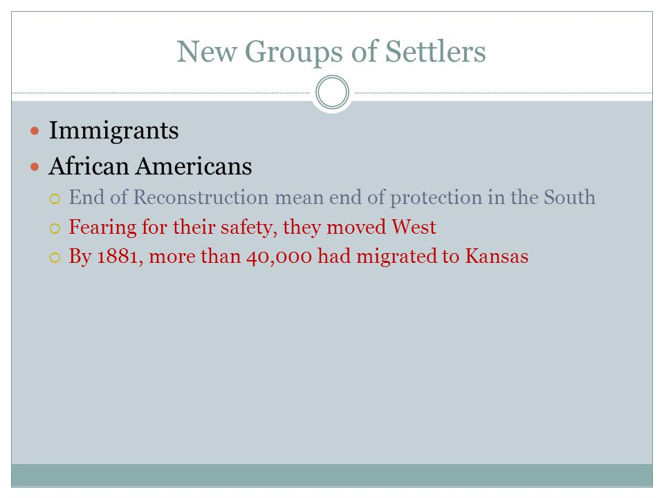 New Groups of Settlers Immigrants African Americans