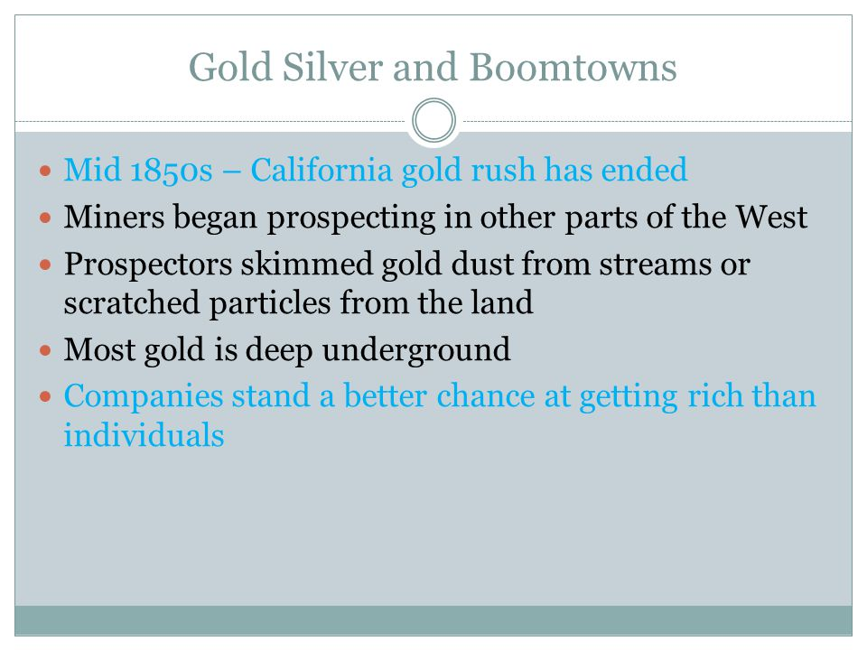 Gold Silver and Boomtowns