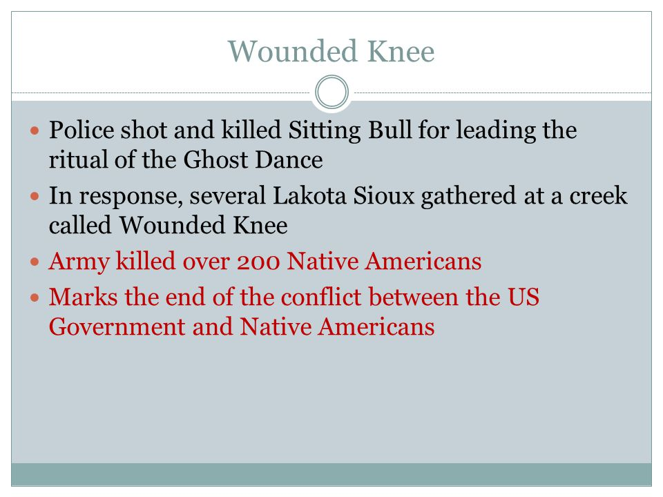 Wounded Knee Police shot and killed Sitting Bull for leading the ritual of the Ghost Dance.