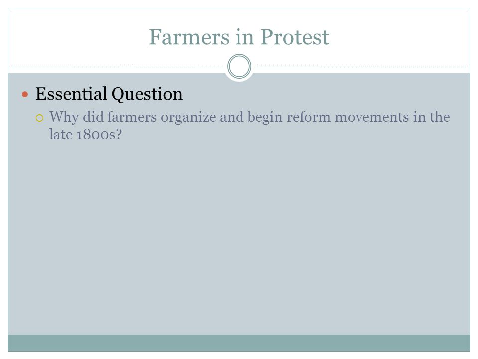 Farmers in Protest Essential Question