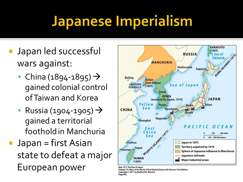 Japanese Imperialism Japan led successful wars against: