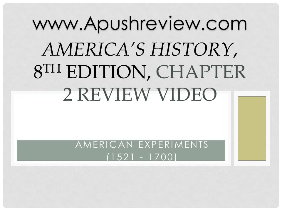 America's History, 8th Edition, Chapter 2 Review Video