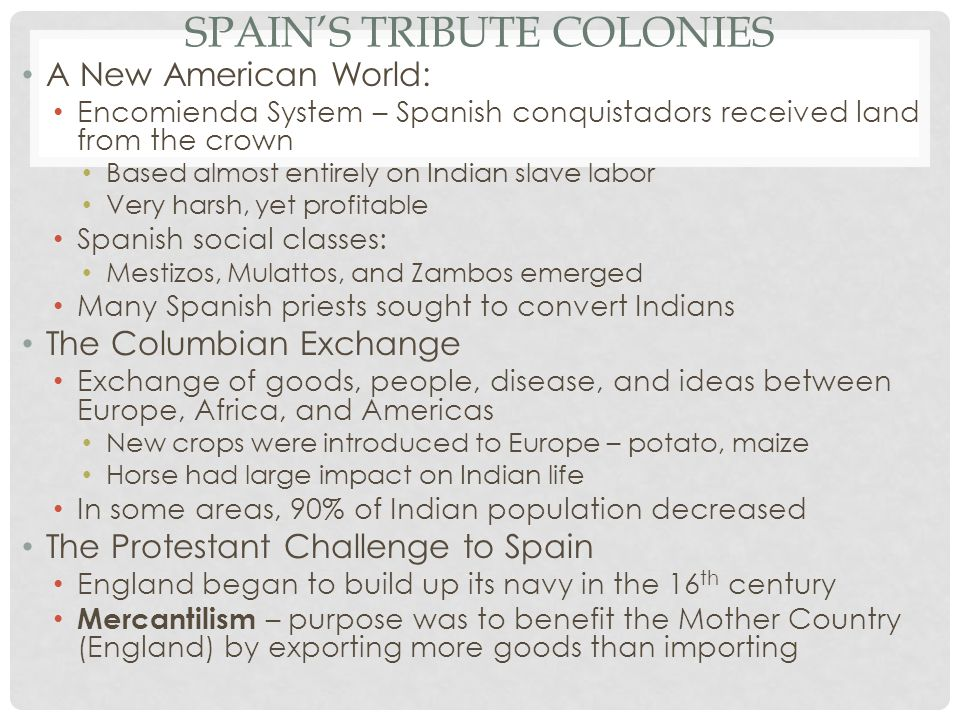 Spain's Tribute Colonies