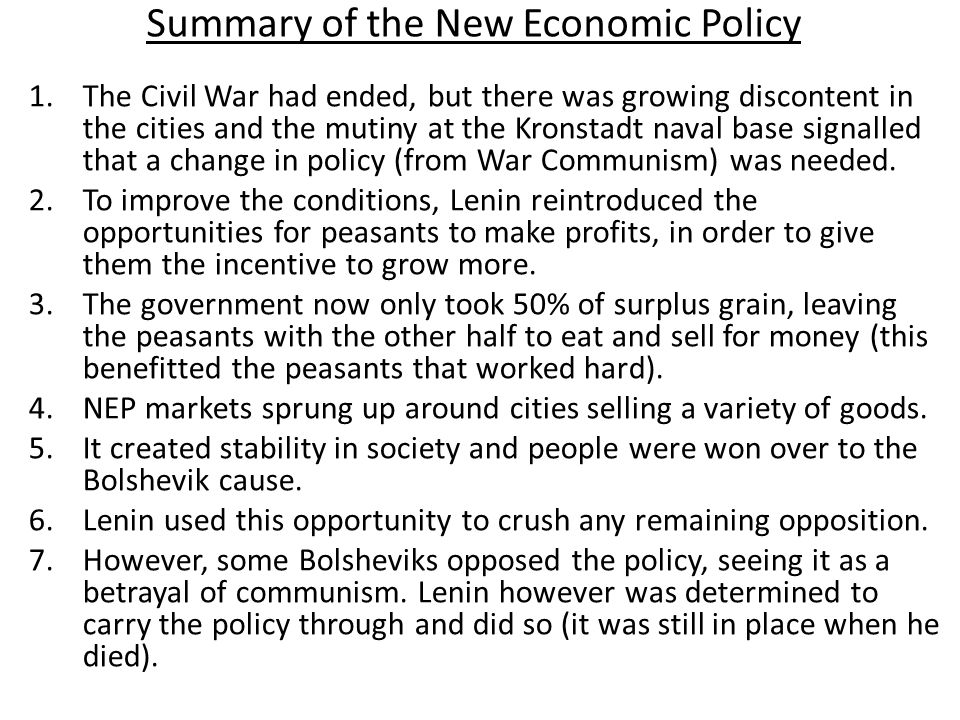 Summary of the New Economic Policy