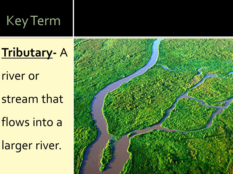 Key Term Tributary- A river or stream that flows into a larger river.