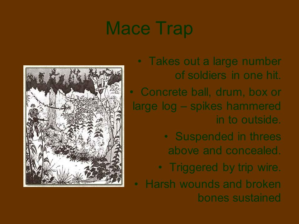Mace Trap Takes out a large number of soldiers in one hit.