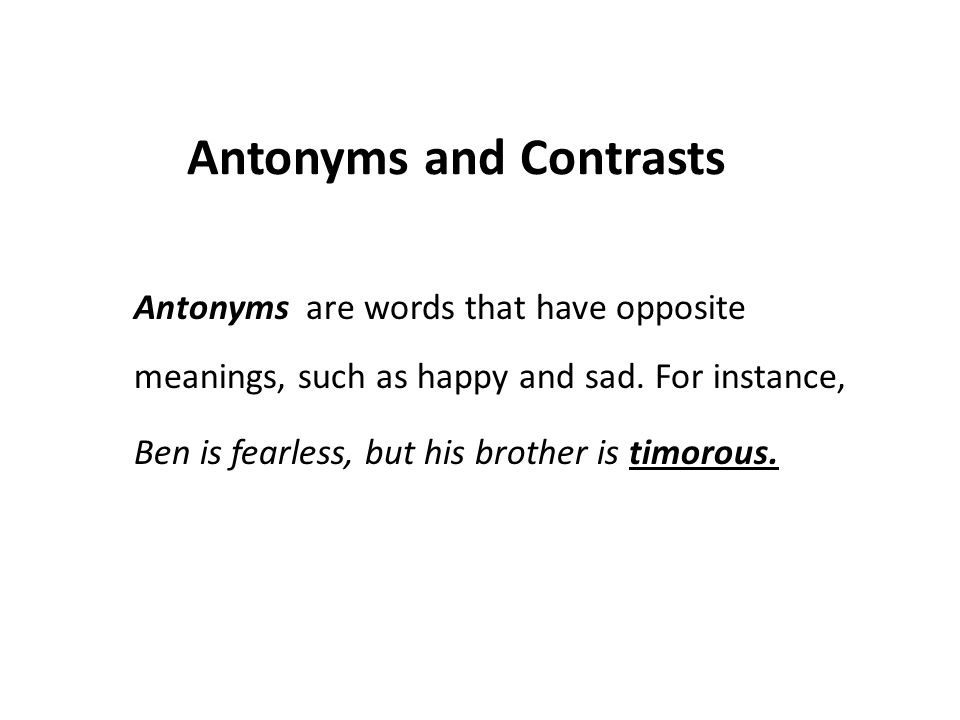 Antonyms and Contrasts