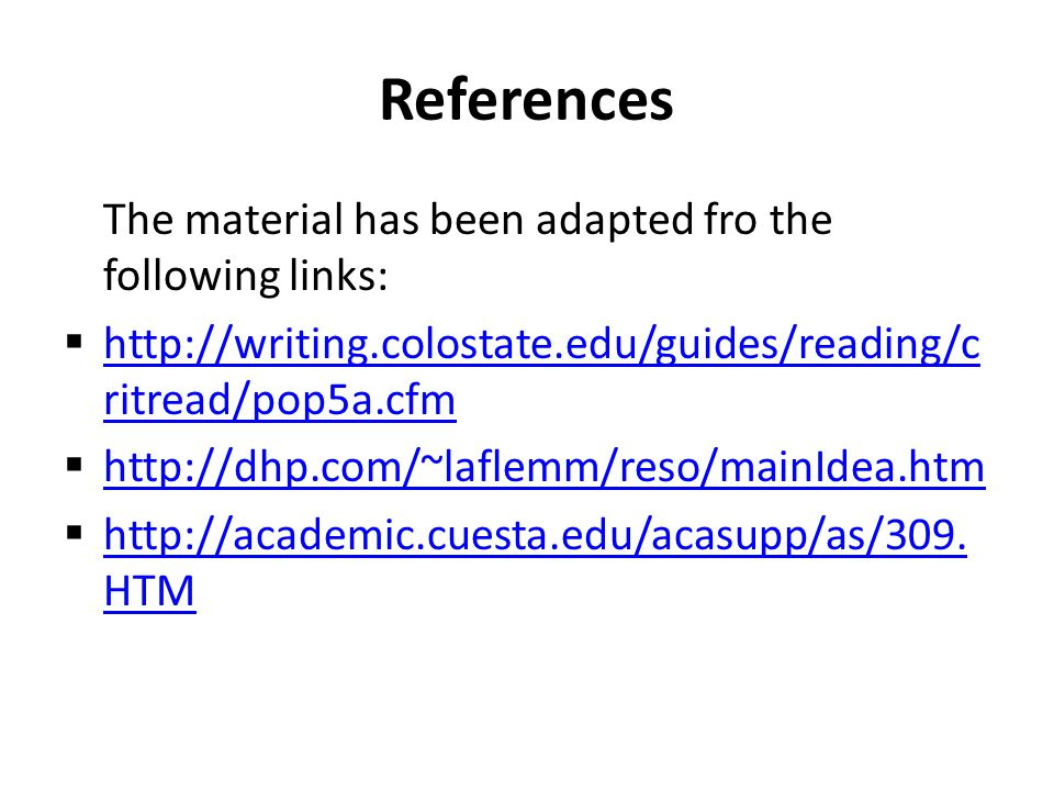 References The material has been adapted fro the following links: