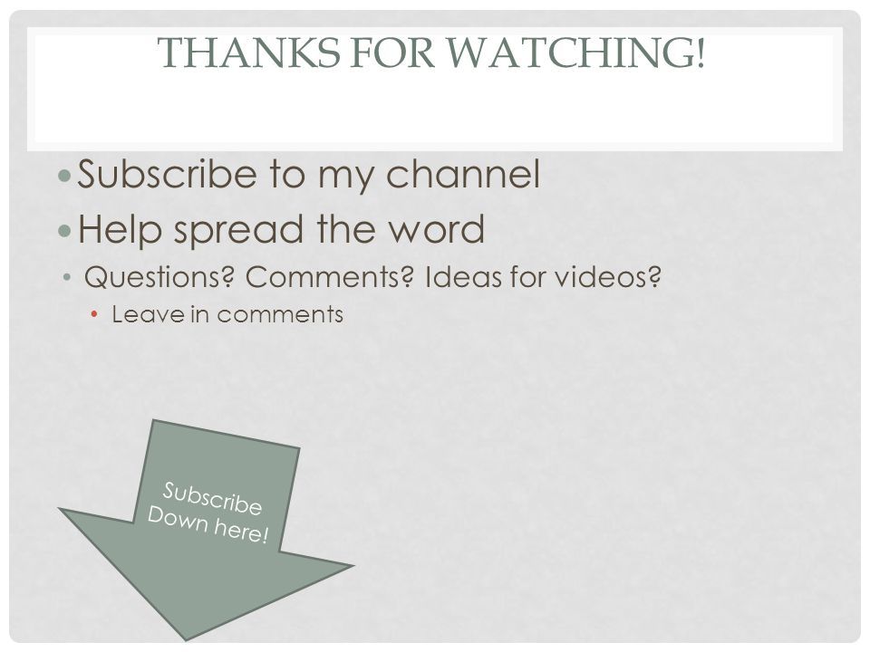 Thanks for watching! Subscribe to my channel Help spread the word