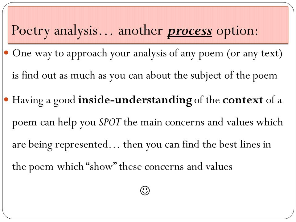 Poetry analysis… another process option: