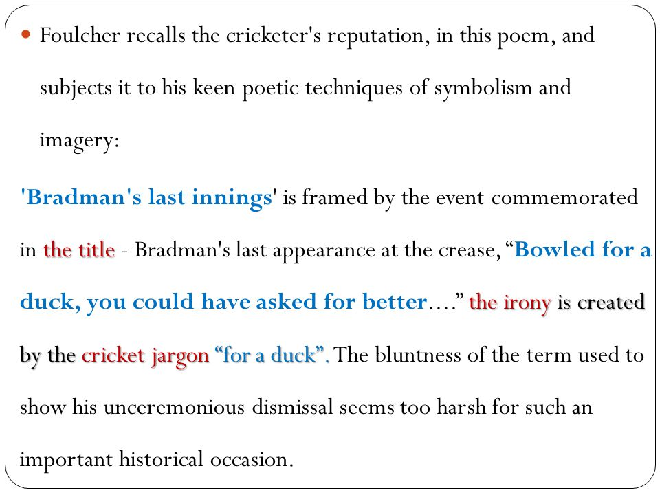 What themes does the poem bradman's last innings by john foulcher explore?