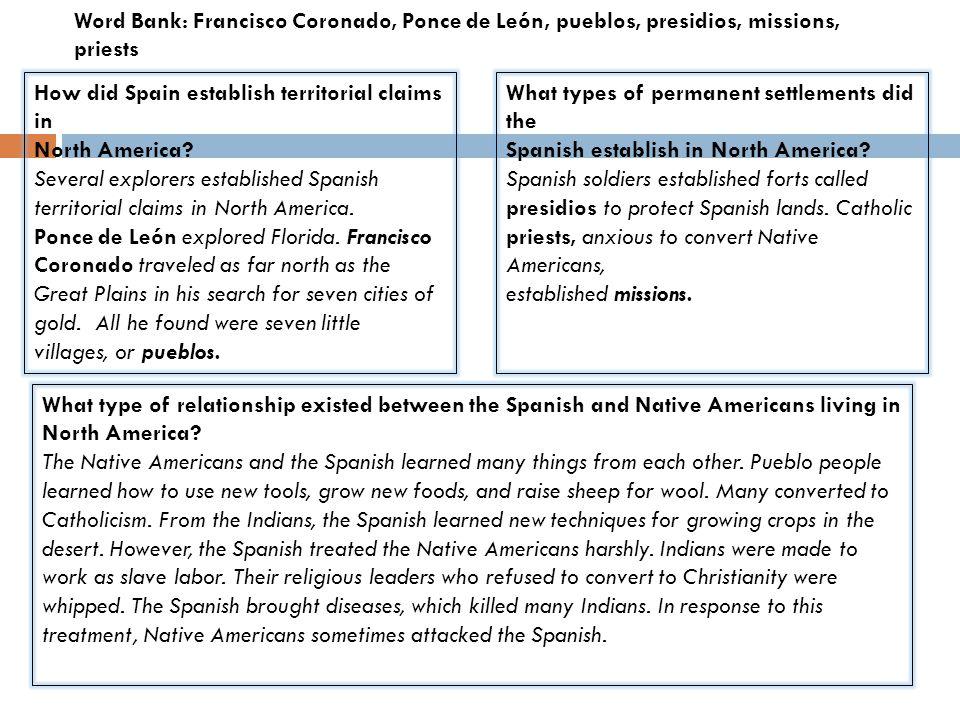 Word Bank: Francisco Coronado, Ponce de León, pueblos, presidios, missions, priests
