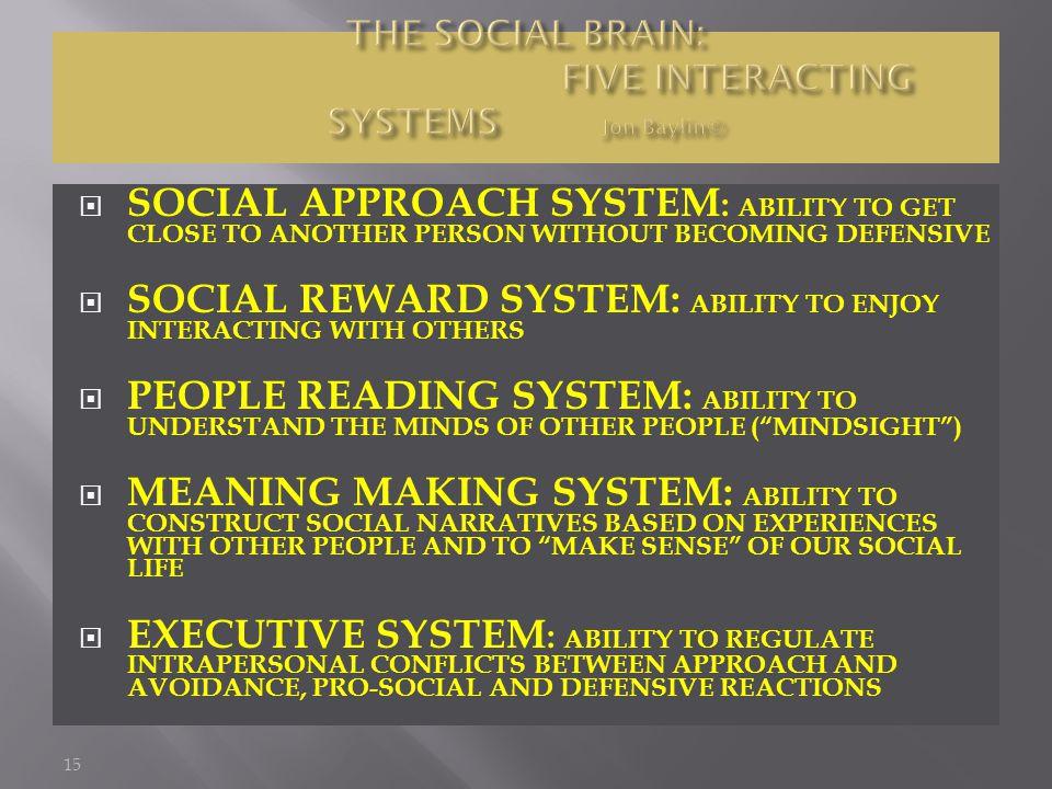 THE SOCIAL BRAIN: FIVE INTERACTING SYSTEMS Jon Baylin©