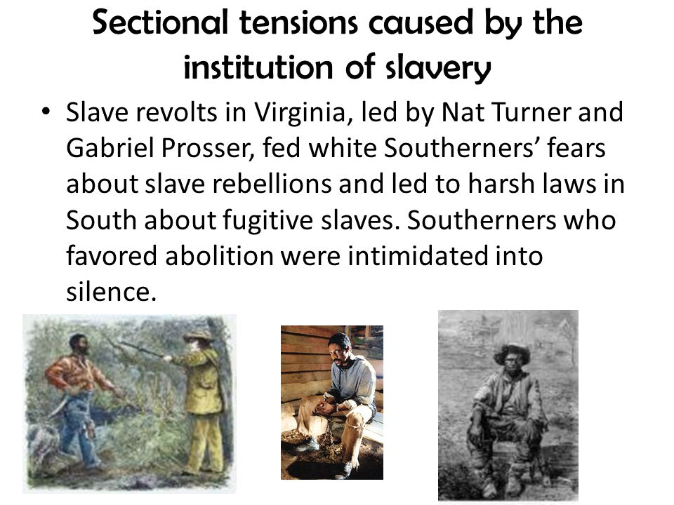 Sectional tensions caused by the institution of slavery