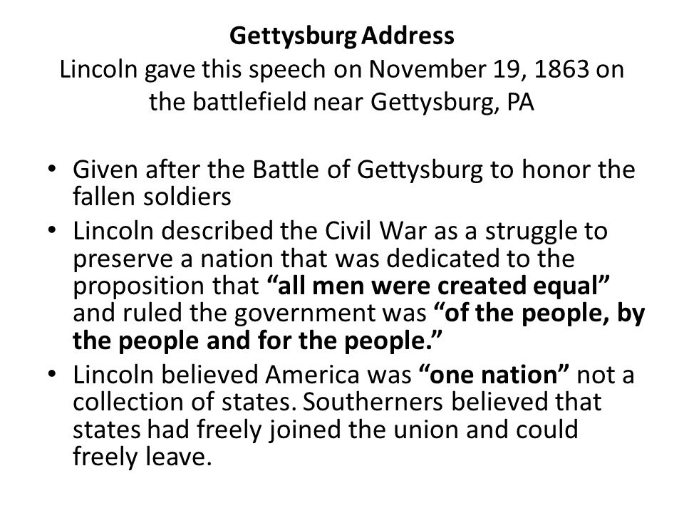 Given after the Battle of Gettysburg to honor the fallen soldiers