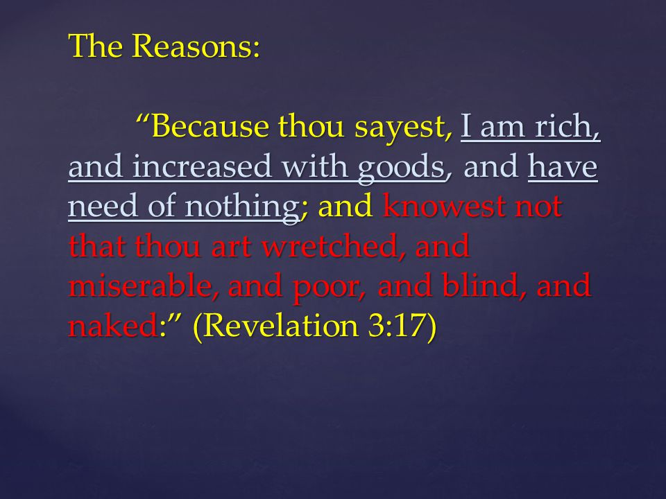The Reasons: