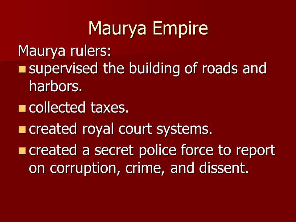Maurya Empire Maurya rulers: