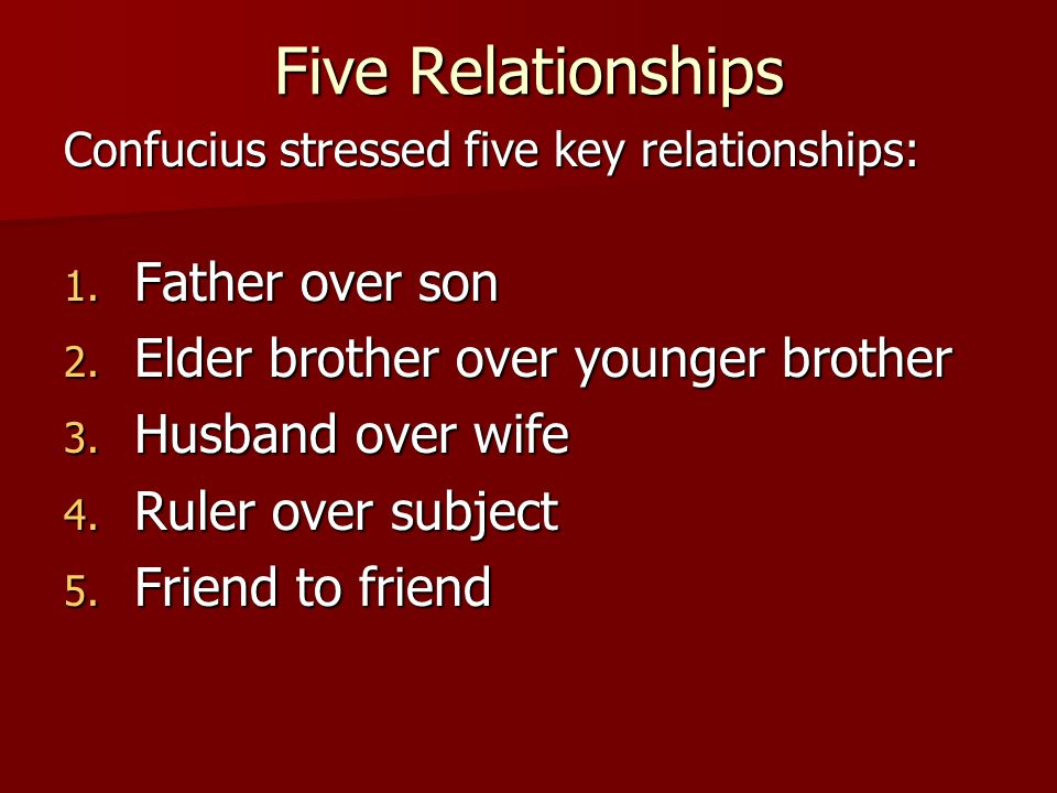 Five Relationships Father over son Elder brother over younger brother