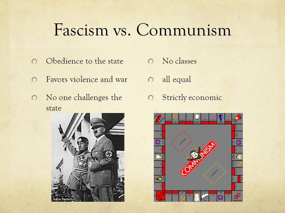 Fascism vs. Communism Obedience to the state Favors violence and war