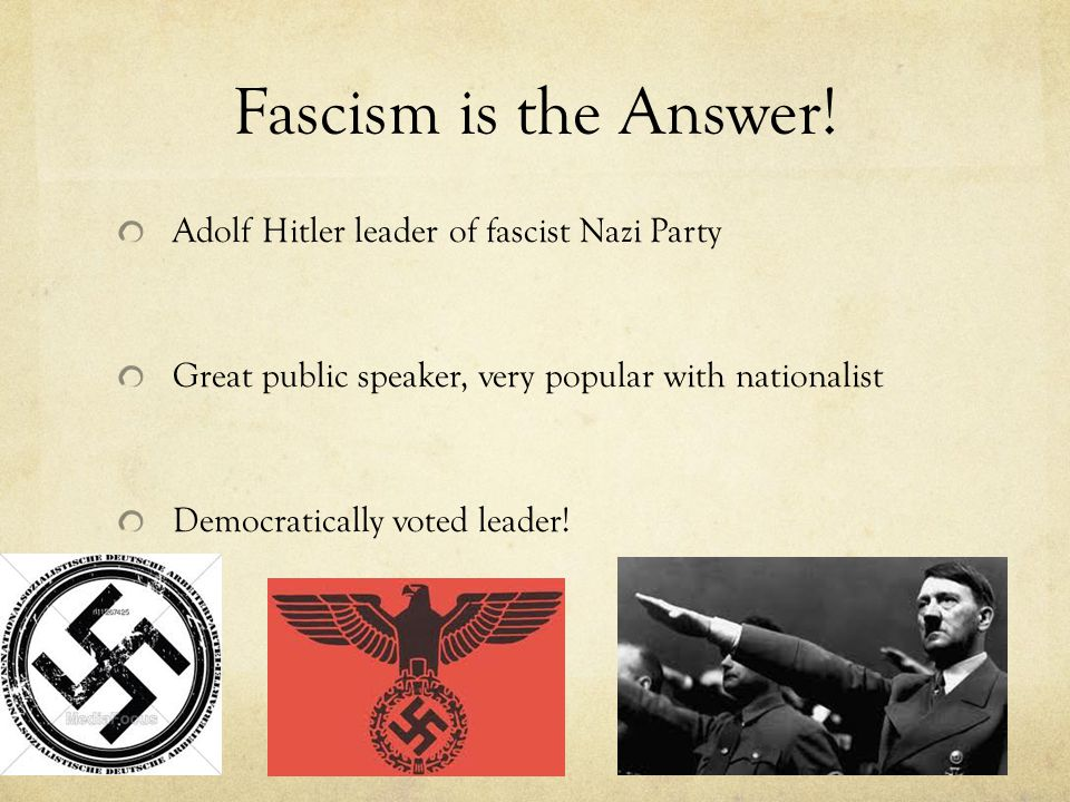 Fascism is the Answer! Adolf Hitler leader of fascist Nazi Party