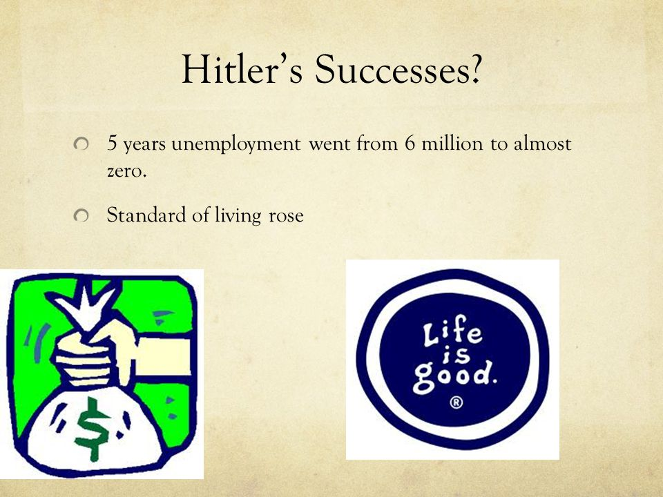 Hitler's Successes. 5 years unemployment went from 6 million to almost zero.