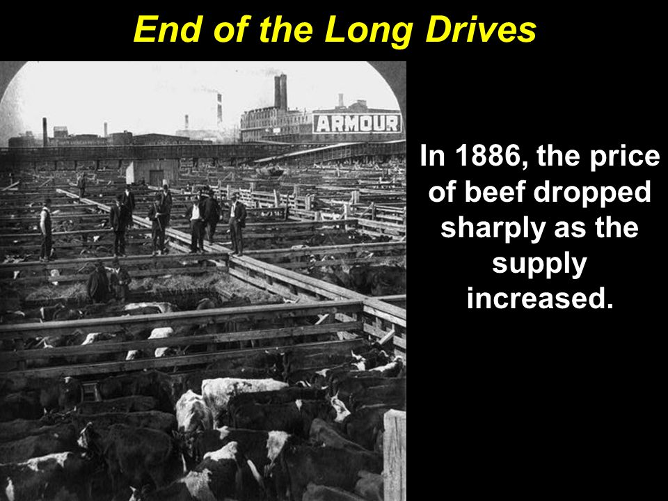 In 1886, the price of beef dropped sharply as the supply increased.