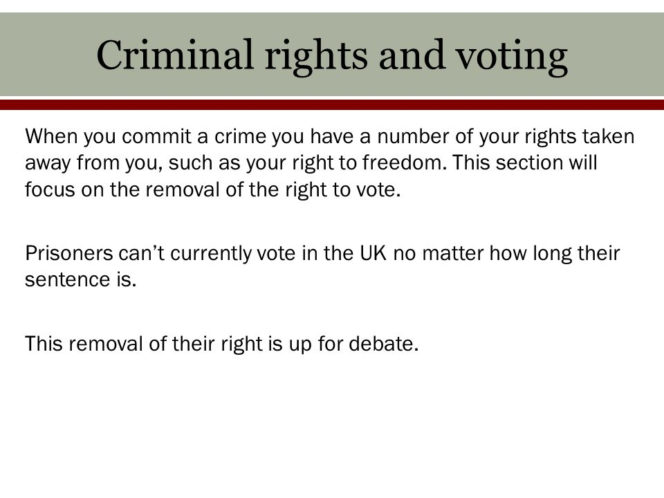 Criminal rights and voting