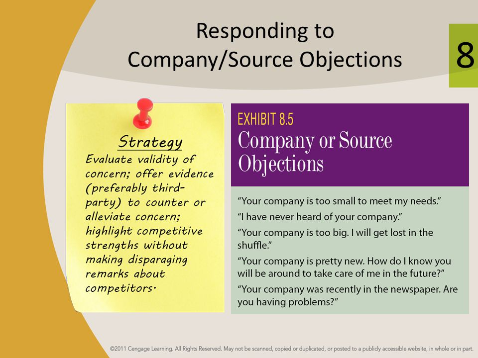 Responding to Company/Source Objections