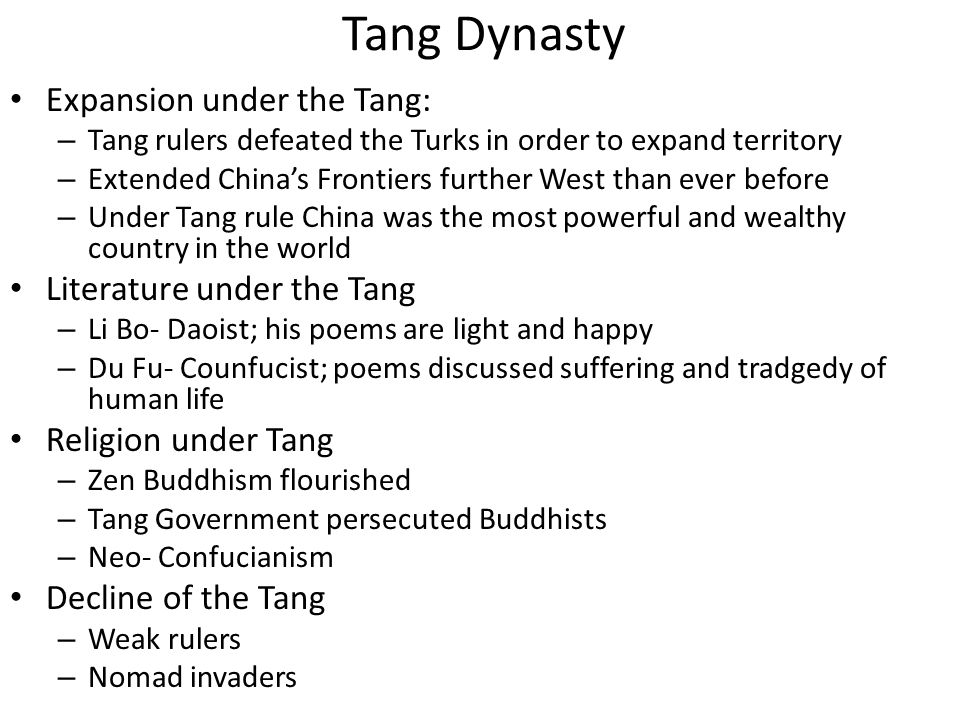 Tang Dynasty Expansion under the Tang: Literature under the Tang