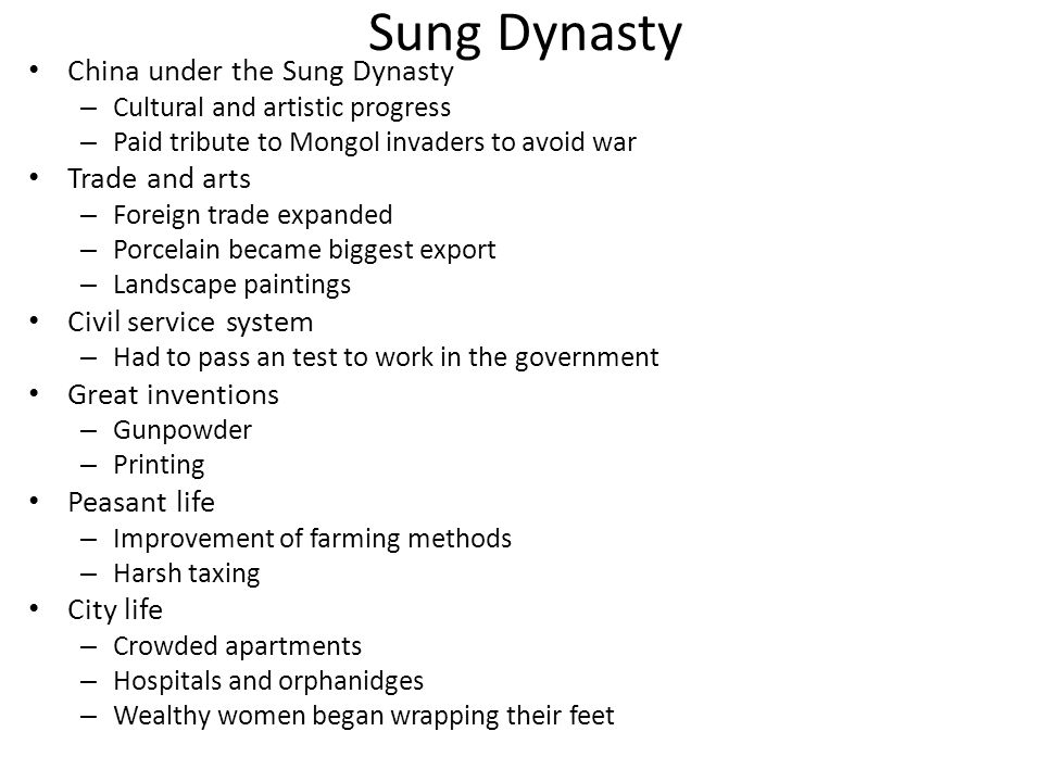 Sung Dynasty China under the Sung Dynasty Trade and arts