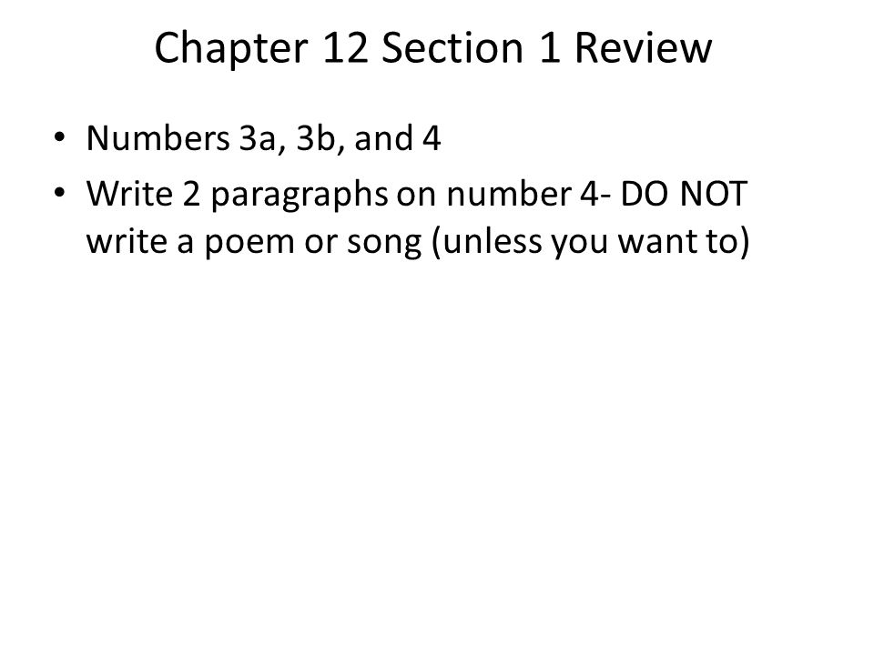 Chapter 12 Section 1 Review