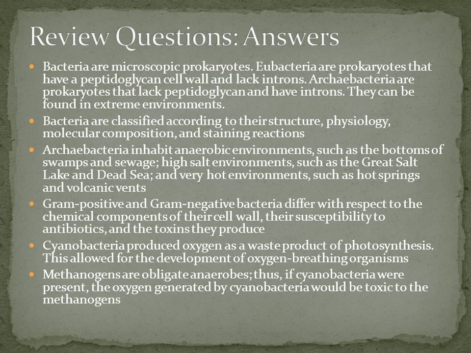 Review Questions: Answers