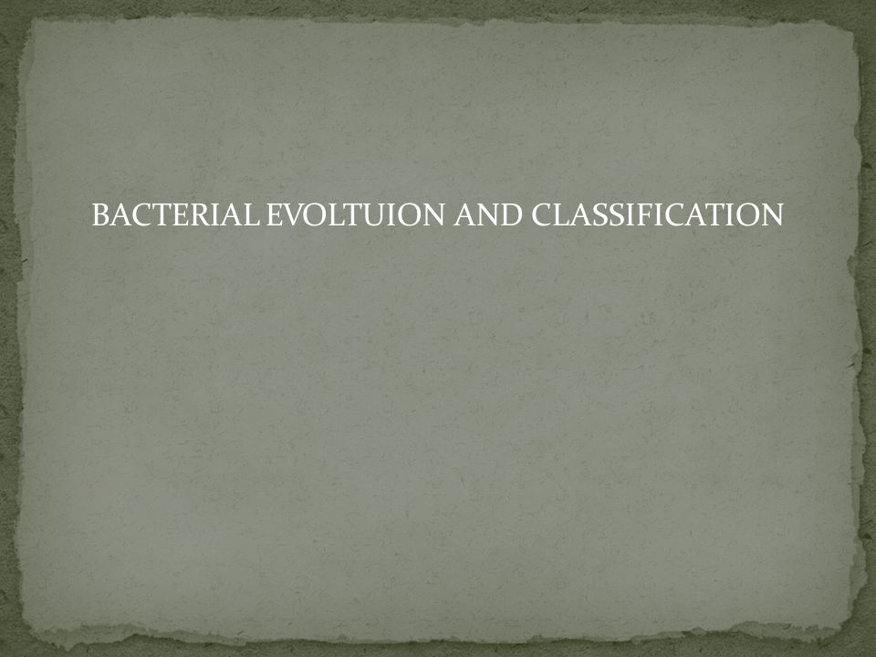 BACTERIAL EVOLTUION AND CLASSIFICATION