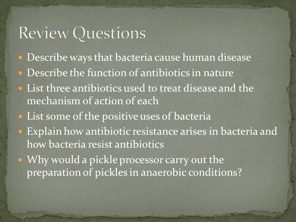 Review Questions Describe ways that bacteria cause human disease