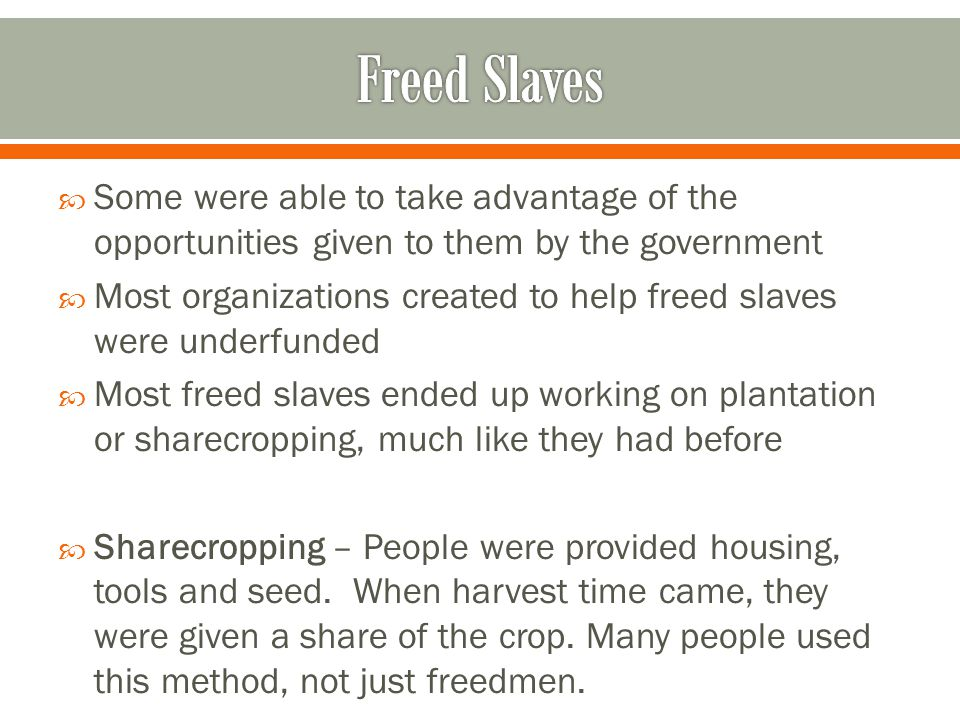 Freed Slaves Some were able to take advantage of the opportunities given to them by the government.
