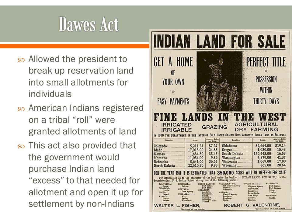 Dawes Act Allowed the president to break up reservation land into small allotments for individuals.
