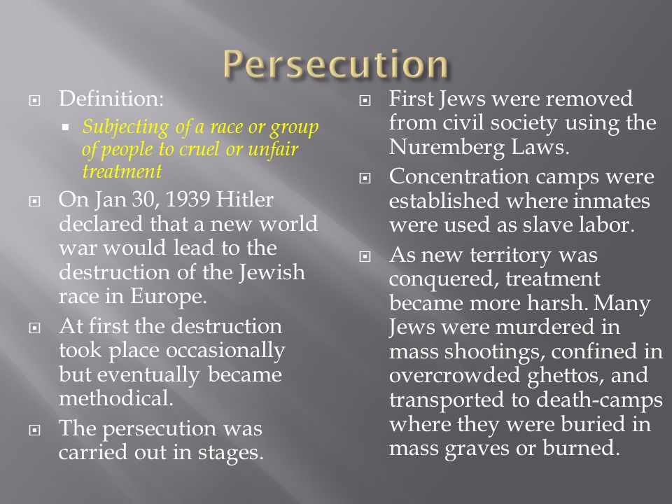 Persecution Definition: