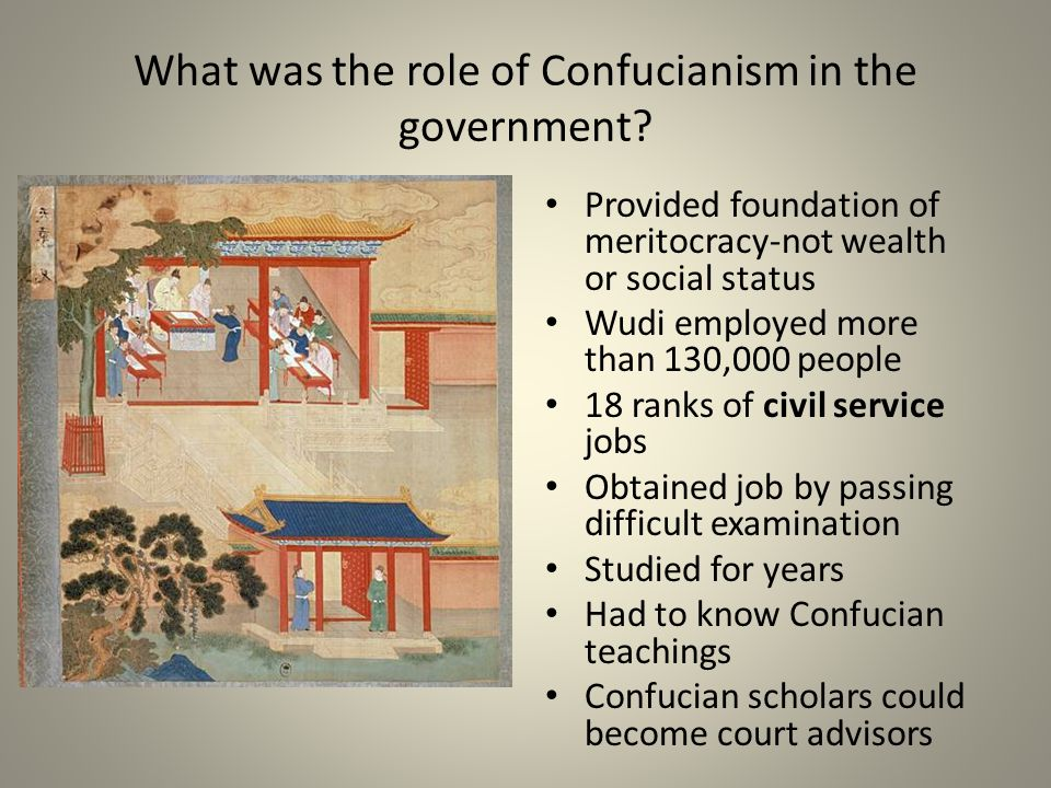 What was the role of Confucianism in the government