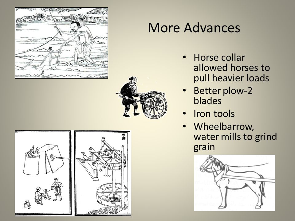 More Advances Horse collar allowed horses to pull heavier loads