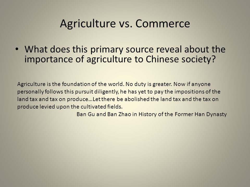 Agriculture vs. Commerce
