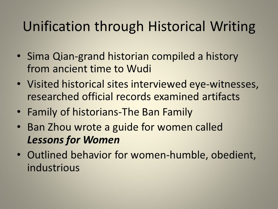 Unification through Historical Writing