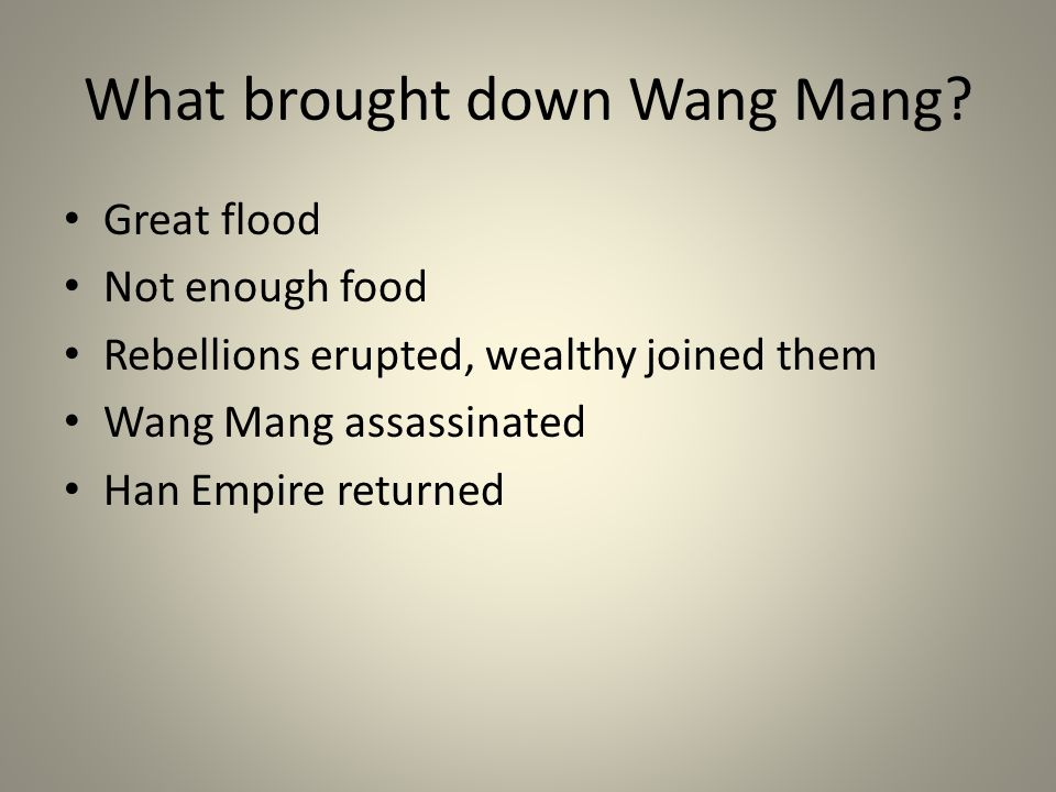 What brought down Wang Mang