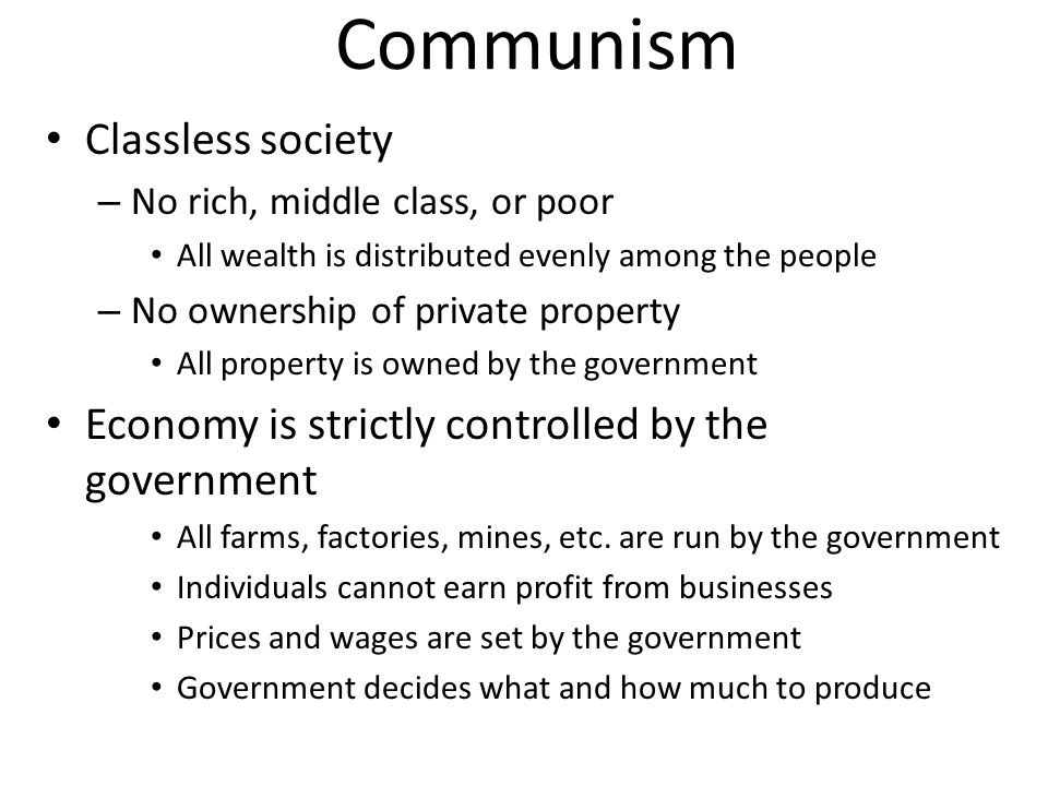Communism Classless society