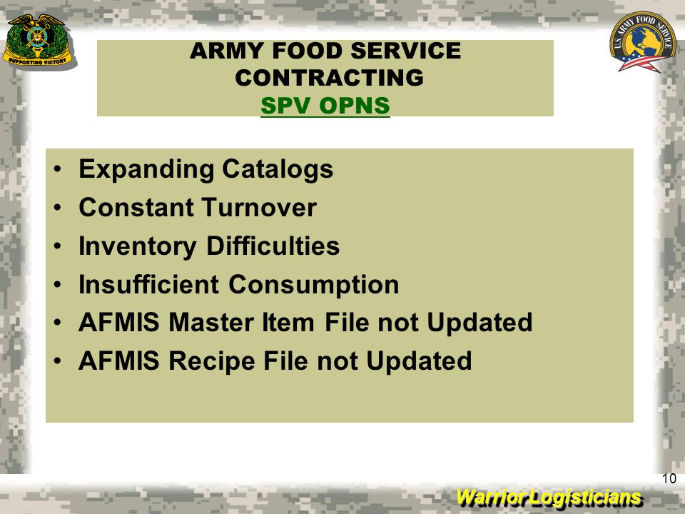 ARMY FOOD SERVICE CONTRACTING SPV OPNS