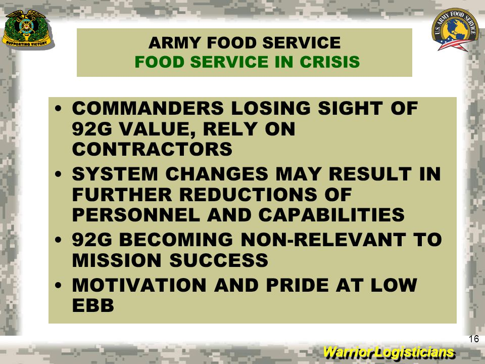 ARMY FOOD SERVICE FOOD SERVICE IN CRISIS