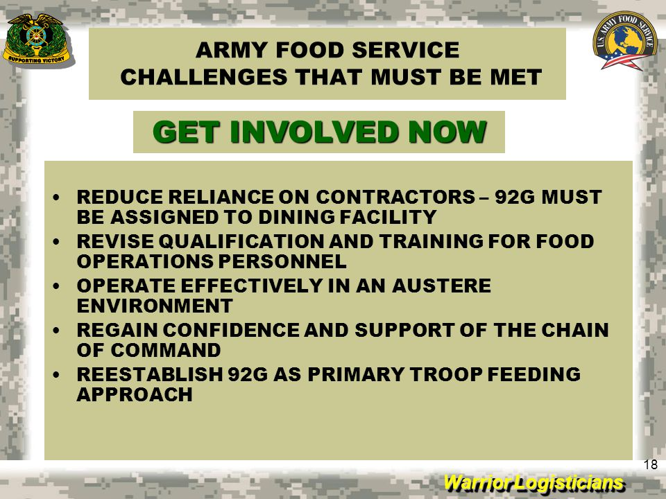 ARMY FOOD SERVICE CHALLENGES THAT MUST BE MET
