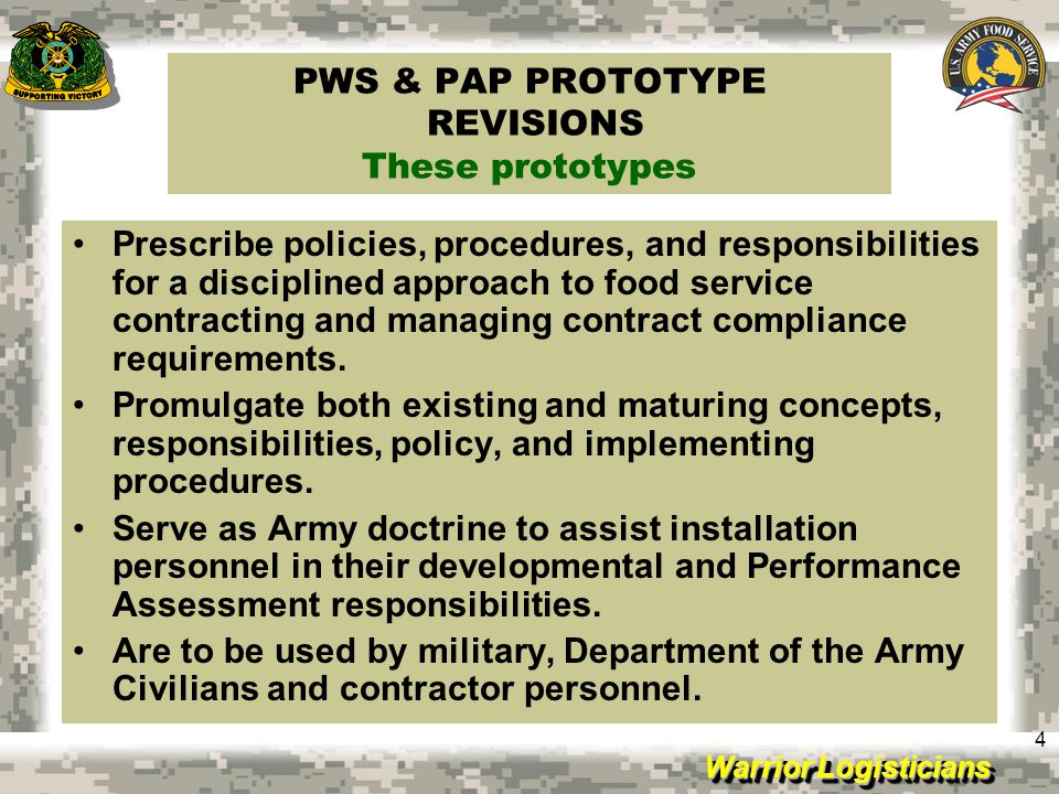 PWS & PAP PROTOTYPE REVISIONS These prototypes